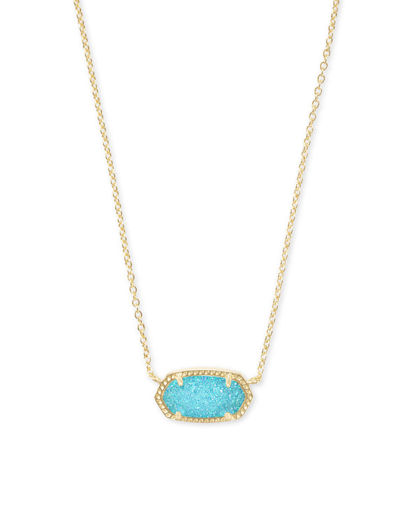 Elisa Gold Pendant Necklace In Bright Aqua Drusy