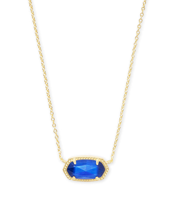 Elisa Gold Pendant Necklace In Cobalt Cat's Eye