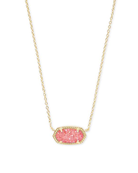 Elisa Gold Pendant Necklace In Coral Drusy