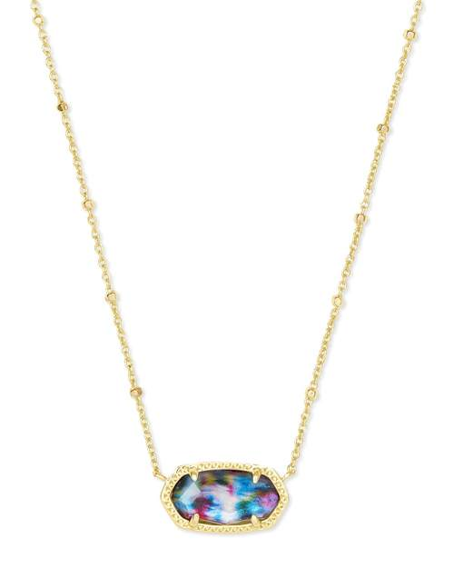 Elisa Satellite Gold Short Pendant Necklace in Teal Tie Dye Illusion