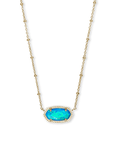 Elisa Satellite Gold Short Pendant Necklace In Turquoise Kyocera Opal