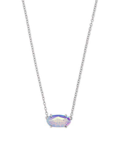 Ever Silver Pendant Necklace In Gray Dichroic Glass