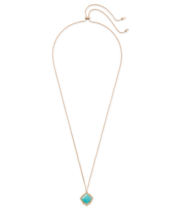 Kacey Rose Gold Long Pendant Necklace In Teal Quartzite