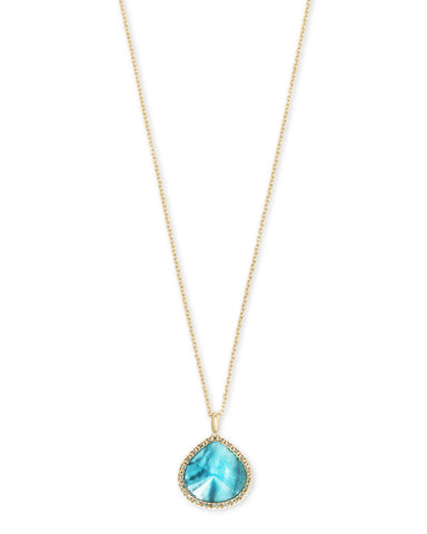 Kenzie Gold Long Pendant Necklace In Aqua Illusion