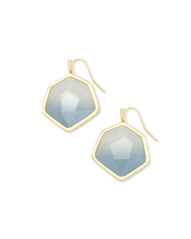 Vanessa Gold Drop Earrings In Steel Gray Ombre