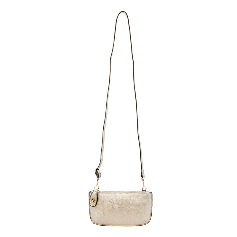 Mini Crossbody Wristlet Clutch in Metallic Pearl