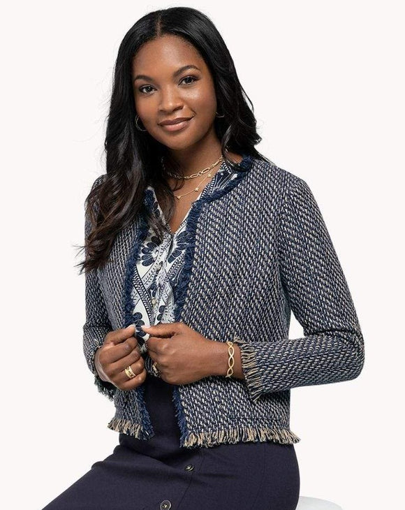 Lettie Tweed Jacket in Navy