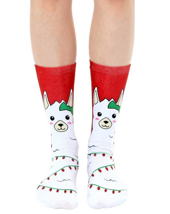 Christmas Lights Llama Crew Socks