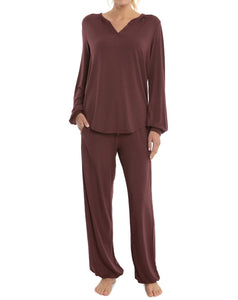 The Luxe Milk Jersey Namaste Lounge Set in Rosewood