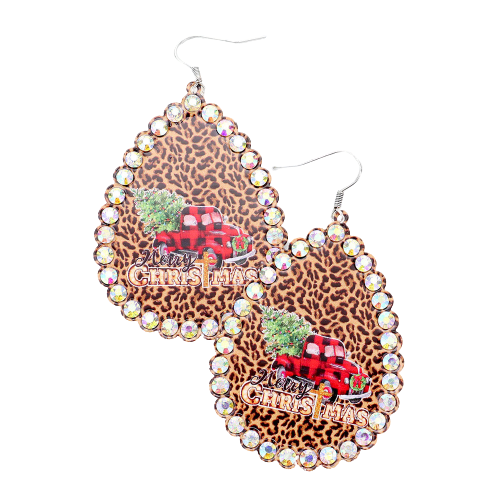 Leopard Merry Christmas Plaid Truck Print Earrings