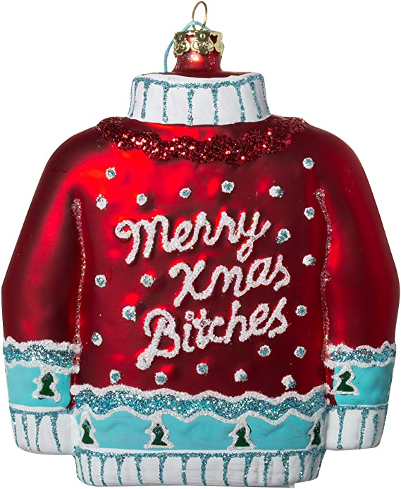 Merry Xmas Bitches Red Christmas Sweater Ornament