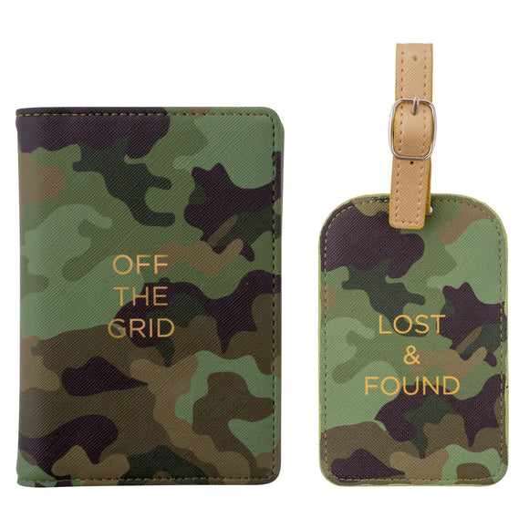 Camo Off The Grid Passport Cover & Luggage Tag