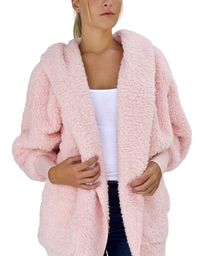 Nordic Beach Cozy Hooded Wrap in Pink Heaven