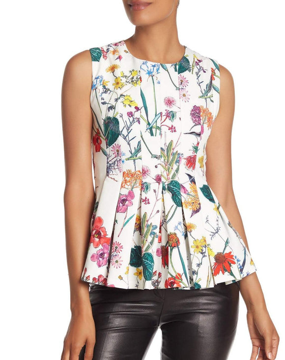 Pleated Floral Peplum Tank