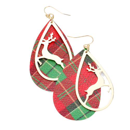 Reindeer Plaid Earrings