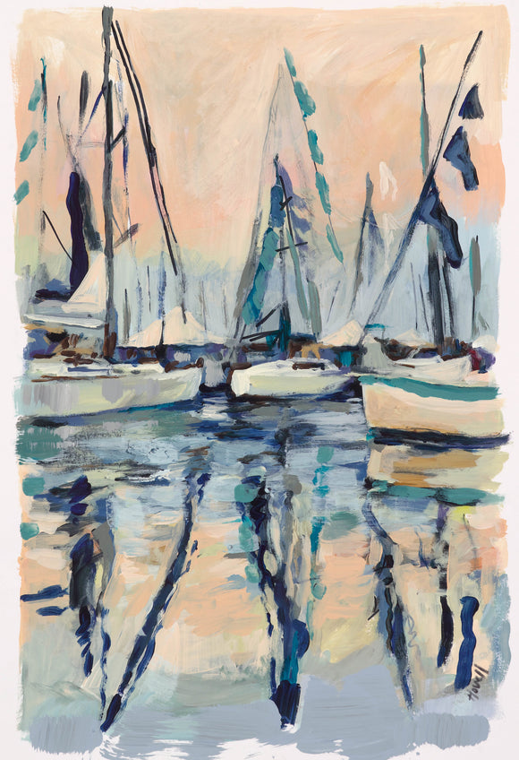 Sailboats At Sunset Print Kim Hovell