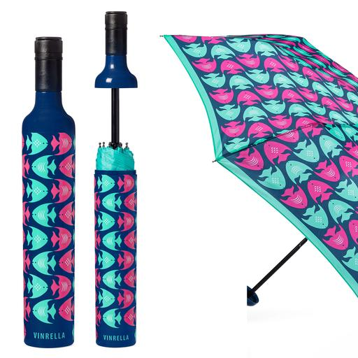 Navy Fish School Mates Bottle Umbrella
