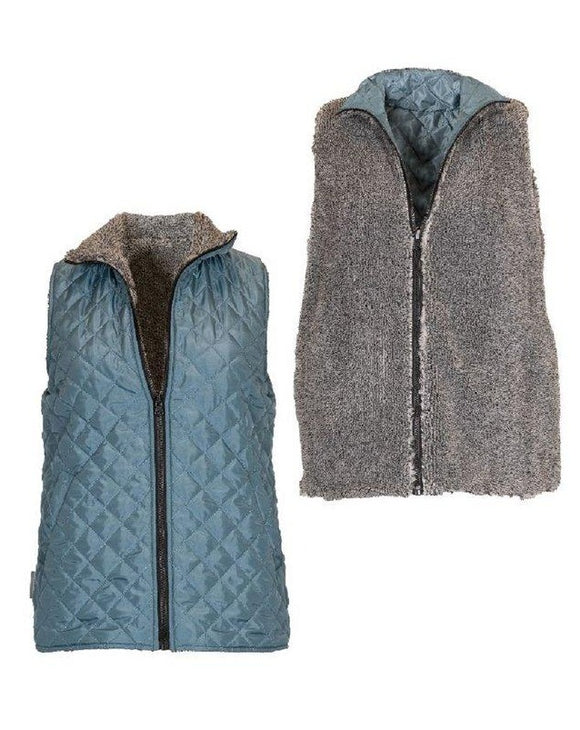 reversible teal grey sherpa simply southern vest