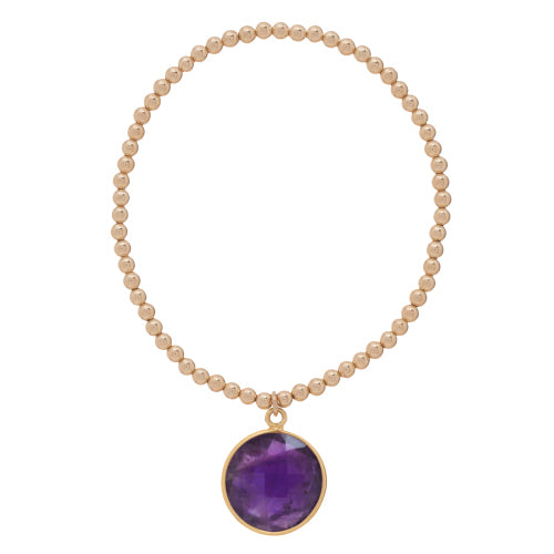 Classic Gold 3mm Bead Bracelet - Regal Amethyst Charm