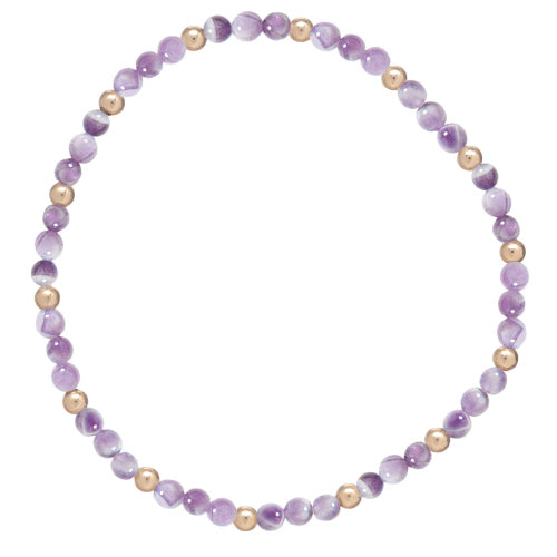 Dogtooth Amethyst Sincerity Pattern 3mm Bead Bracelet - Gold