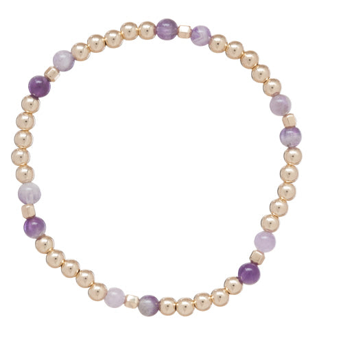 Essence Pattern Gold 4mm Bead Bracelet - Dogtooth Amethyst