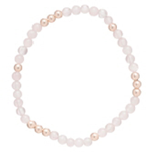 Worthy Pattern 4mm Bead Bracelet - Rose Quartz