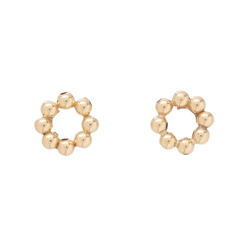 Classic Beaded Halo Stud - 3mm Bead Gold