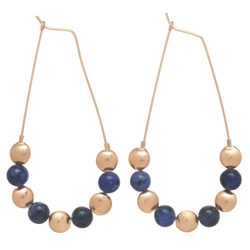 "Beaded Oval Gold 2.25"" Hoop Honesty - Gold & Sodalite"