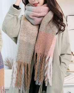 Jenna Cozy Fringe Scarf in Neutral Pastel