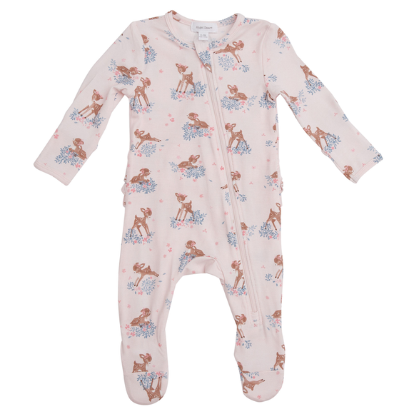 Woodland Deer Ruffle Back Zipper Footie