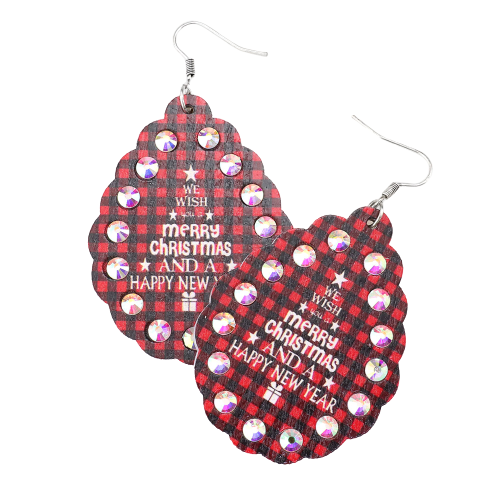 We Wish You A Merry Christmas Plaid Wooden Earrings