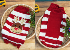 Holiday Dog Sweater Striped Red Large