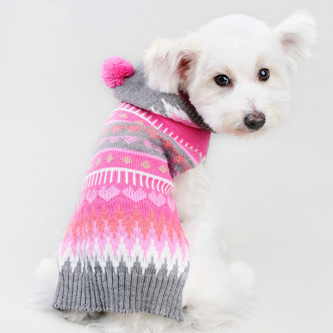 Sweater Knitted For Dogs Pom Pom Pink