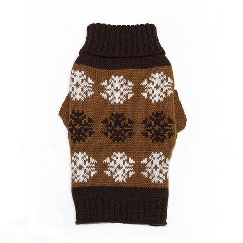Sweater Knitted For Small Dogs Snow Flakes Pattern Brown