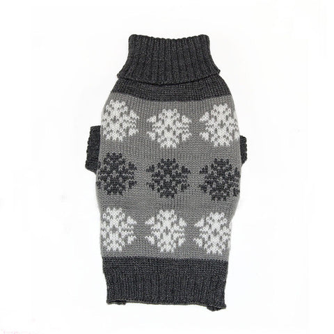 Sweater Knitted For Small Dogs Snow Flakes Pattern Grey