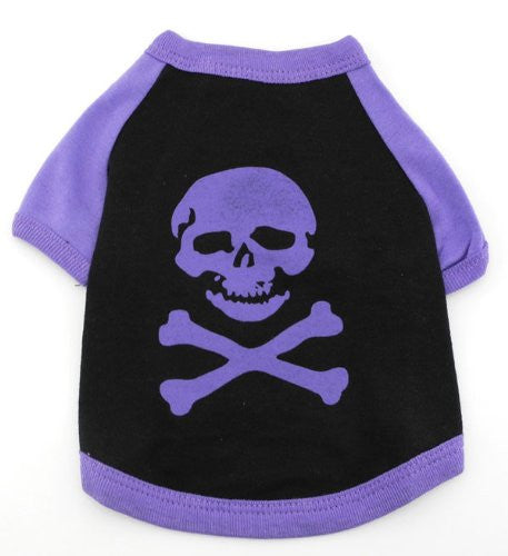 T-Shirt For Small Dogs Purple Skull Pattern