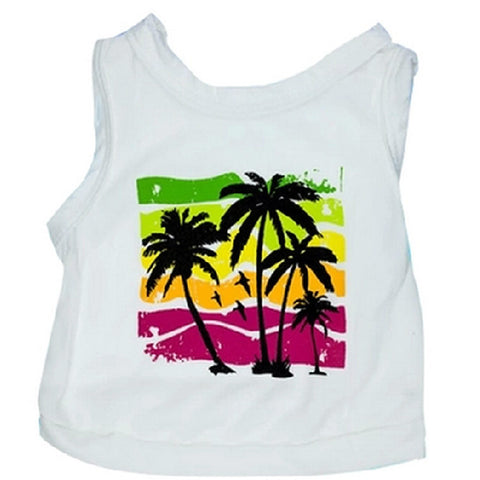 Dog T-Shirt Tropical Beach Holiday Style