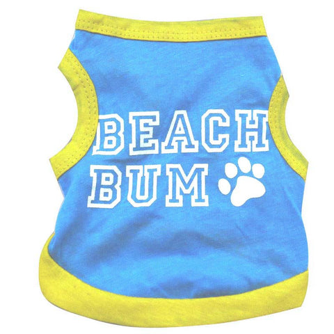 "Dog Summer Shirt ""Beach Bum"" Top for Small Pets"
