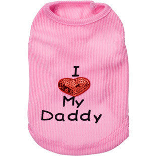 "Dog Tank Top ""I Love My Daddy"" Vest Heart Print 2 Colors"