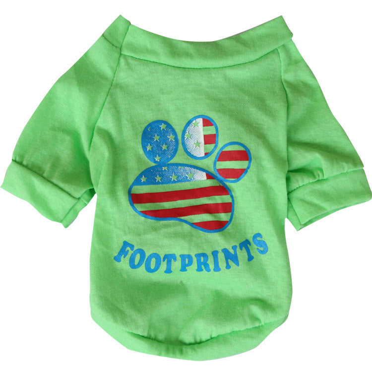 "American Flag T-Shirt ""Footprint"" for Dogs and Cats Green"