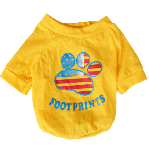 "American Flag T-Shirt ""Footprint"" for Dogs and Cats Yellow"