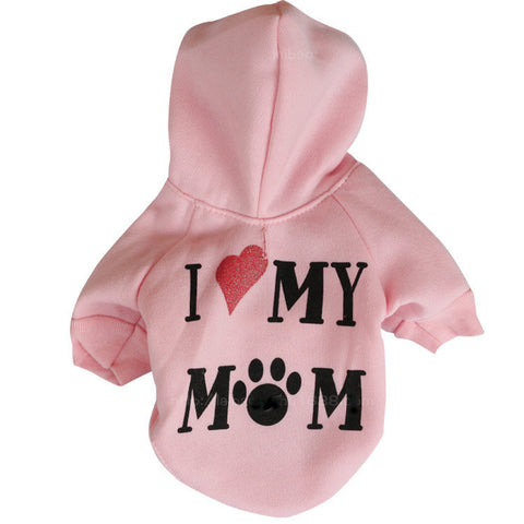 "Dog Cute Hoodie ""I Love My Mom"" Sweatshirt"