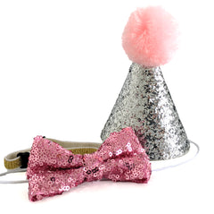Funny Birthday Hat For Dogs Cat Small Pet Glitter Set 3 Colors
