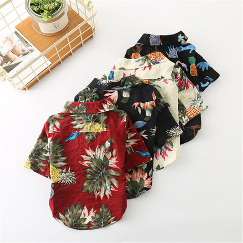 Spring Summer Hawaiian Pet Clothes With Cool Floral Print