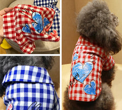 Plaid Dog Shirt With Heart Print 2 Colors