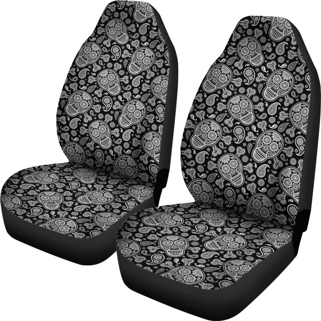 Black White Sugar Skulls Car Seat Covers Set
