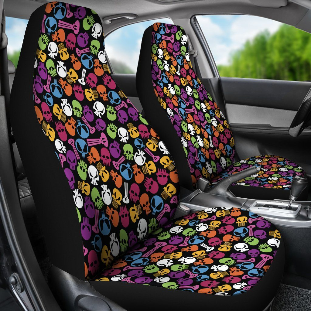 Colorful Tiny Skulls Car Seat Covers Set - DecalCustom