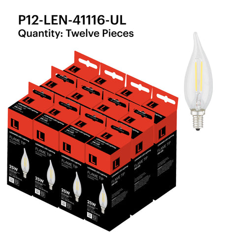 P12-LEN-41116-UL 2W Candle Flame Tip E12 2700K - FREE SHIPPING!