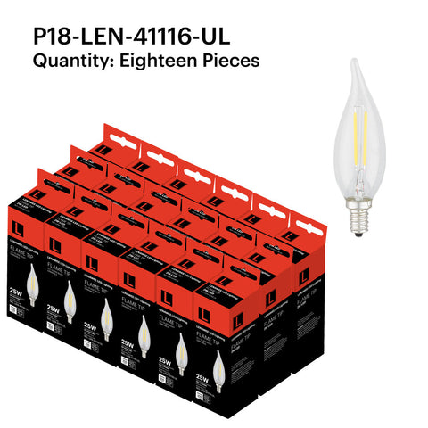 P18-LEN-41116-UL 2W Candle Flame Tip E12 2700K - FREE SHIPPING!