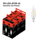 P6-LEN-41116-UL 2W Candle Flame Tip E12 2700K - FREE SHIPPING!